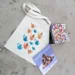 Funky teapots bag cotton hand stenc..