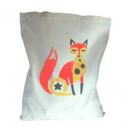 Funky fox bag cotton hand stencilled print